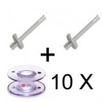 Juego de 2 Barras de soporte para bobina y 10 canillas